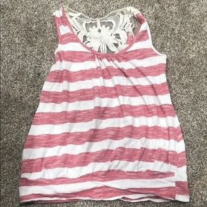 Tops - Striped, Lace tank top